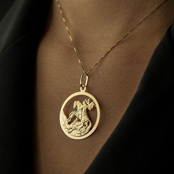 Pingente de Ouro 18k Medalha de São Jorge Redondo pi16749 - Joiasgold R   1.909,22 à vista. Adicionar à sacola 825640afa2