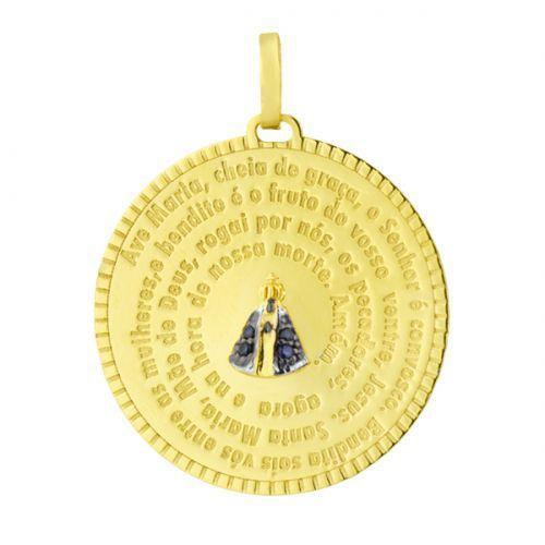 Pingente de Ouro 18k Medalha N. Sra. Aparecida com Safira pi07002 -  Joiasgold R  1.621,62 à vista. Adicionar à sacola b25ed579e9