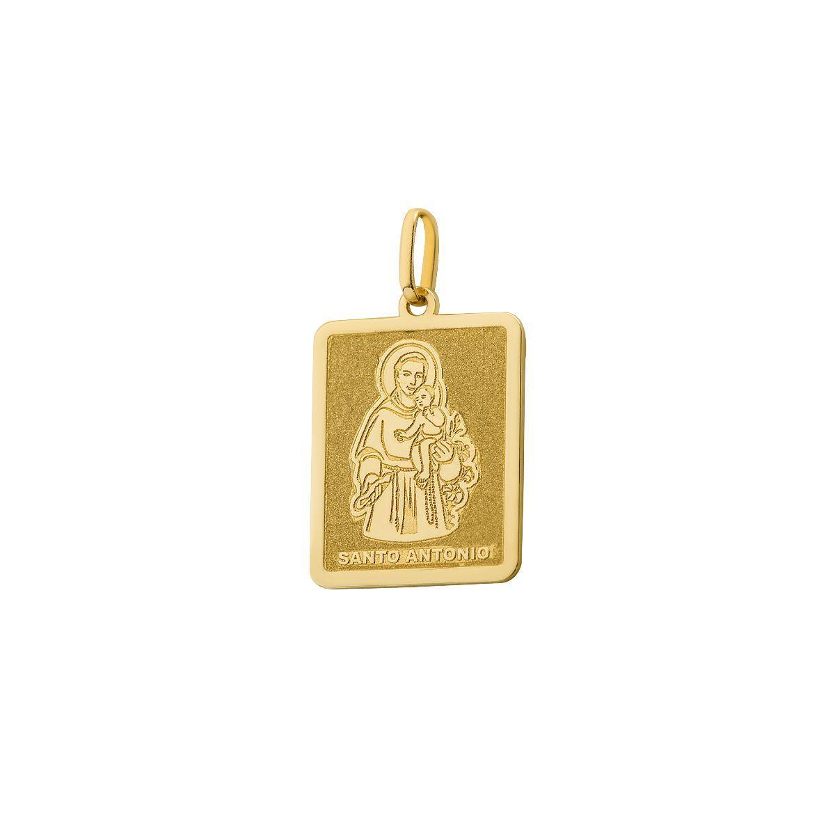 Pingente de Ouro 18k Placa Santo Antônio Quadrado pi18285 - Joiasgold  Produto não disponível 3351d2d845