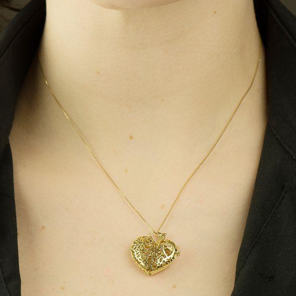 Pingente de Ouro 18k Relicário Formato de Coração Vazado pi15851 - Joiasgold  Produto não disponível a87d33c4e7