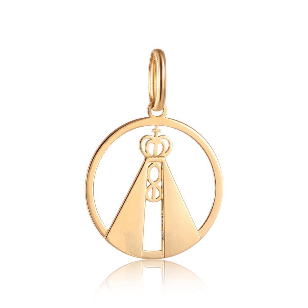 Pingente em Ouro 18k Redondo Vazado Esmaltado Nossa Sra Aparecida - Rosana  joias Produto não disponível 3287e9d223