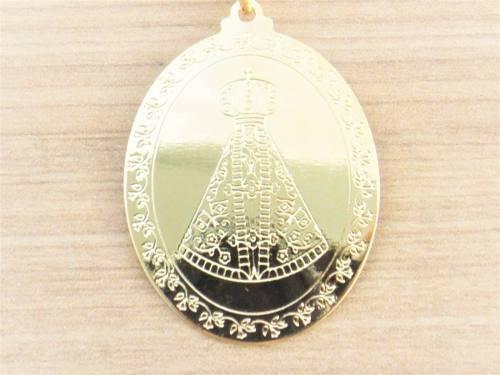 Nossa Senhora Aparecida Joias: Pingente Medalha Nossa Senhora Aparecida Folheado Ouro