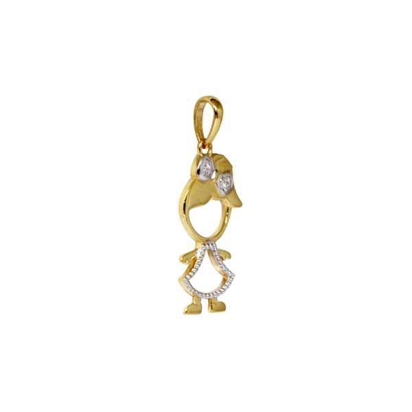 0412a35b67 Pingente Menina Ouro 18k Com Pedras Zircônias - Retran joias R  450