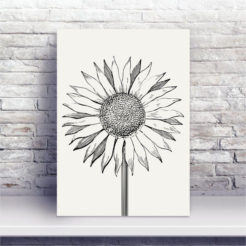 Placa Mdf Desenho Flor Girassol Preto E Branco Conspecto