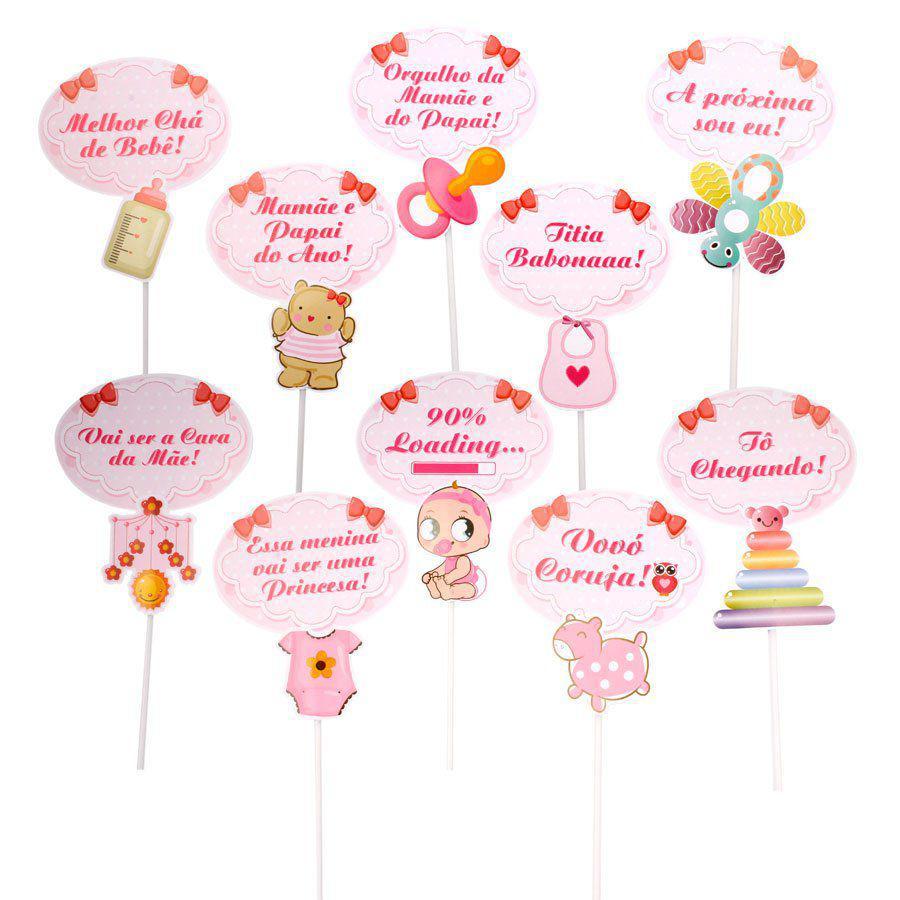 Plaquinhas Chá De Bebê Rosa Menina 10un Aluá Festas Plaquinhas