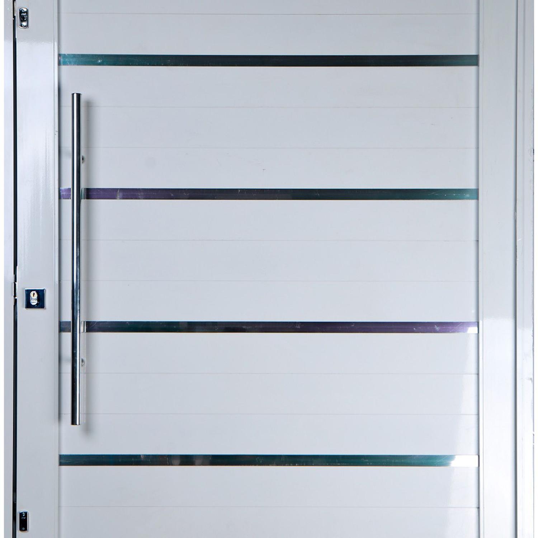 Porta Pivotante De Aluminio Lambril 2 10 X 1 10 Com Frisos Puxador E Kit Fechadura Direita Cor Branco Linha Especial Porta Magazine Luiza