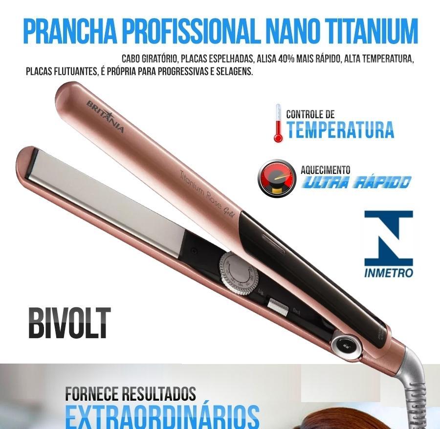 e5daf2d33 Prancha De Cabelo Britania Nano Titanium Rosa 440F + Modelador De Cachos  Espiral Azul Bivolt - Britânia R$ 179,00 à vista. Adicionar à sacola
