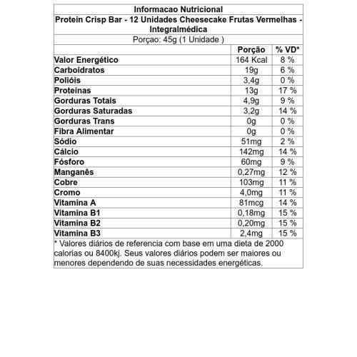 217f76185 Protein Crisp Bar - 12 Unidades Cheesecake Frutas Vermelhas - Integralmédica  - Integralmedica R  72