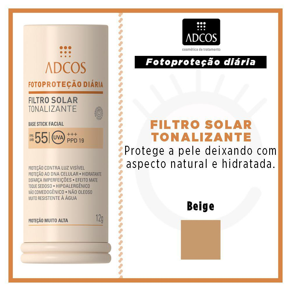59fa1527f Protetor Solar Base Stick Tonalizante FPS 55 Adcos - Protetor Solar ...