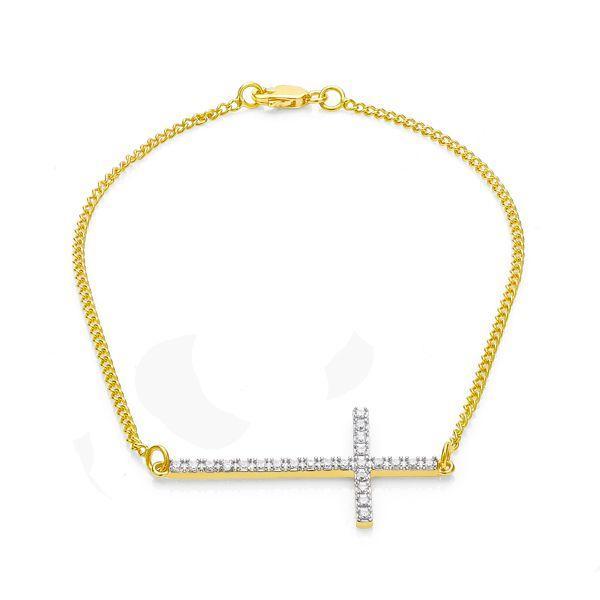 cfebb0f81dc1a Pulseira de Ouro 18k Cruz com Zircônias Branca 19cm pu02876 - Joiasgold R   1.340,96 à vista. Adicionar à sacola