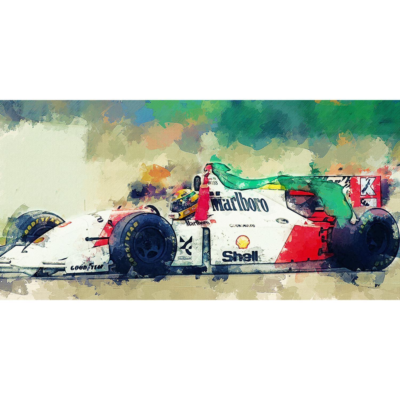 72e1aca65 Quadro Ayrton Senna Fórmula 1 Arte McLaren Tela Tecido 80x40 - Bimper R   147