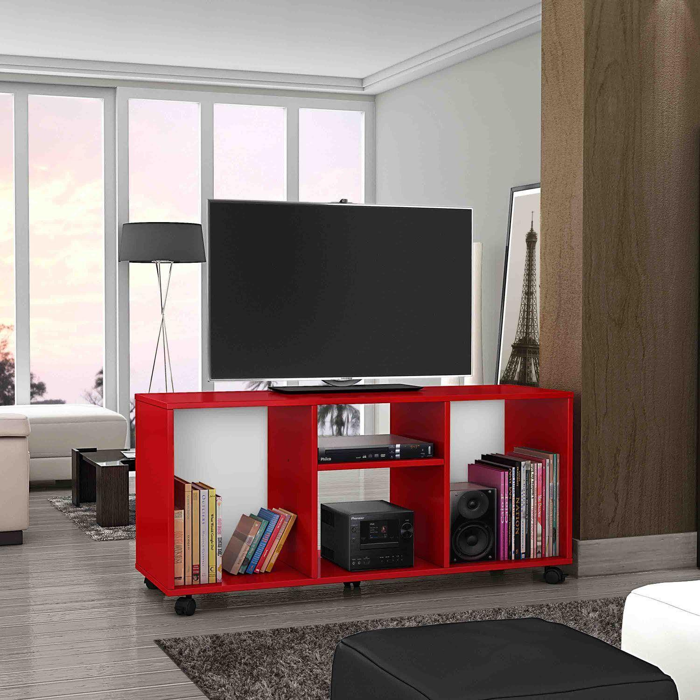60 Salas Com Sofá Vermelho Incríveis: Rack Para TV Até 42 Polegadas Com Rodízios Aruba Móveis