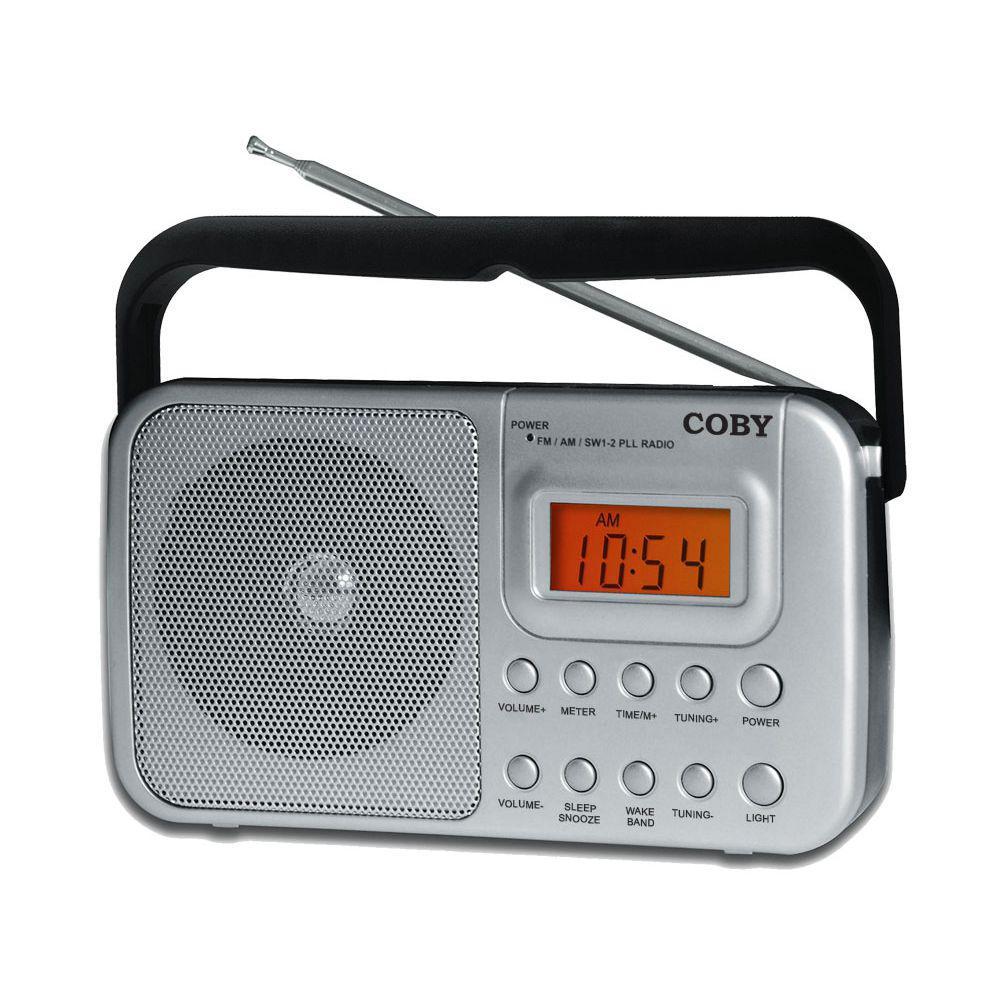 d75a9ccb65a Rádio portátil AM FM SW1 SW2 com relógio e alarme - Coby