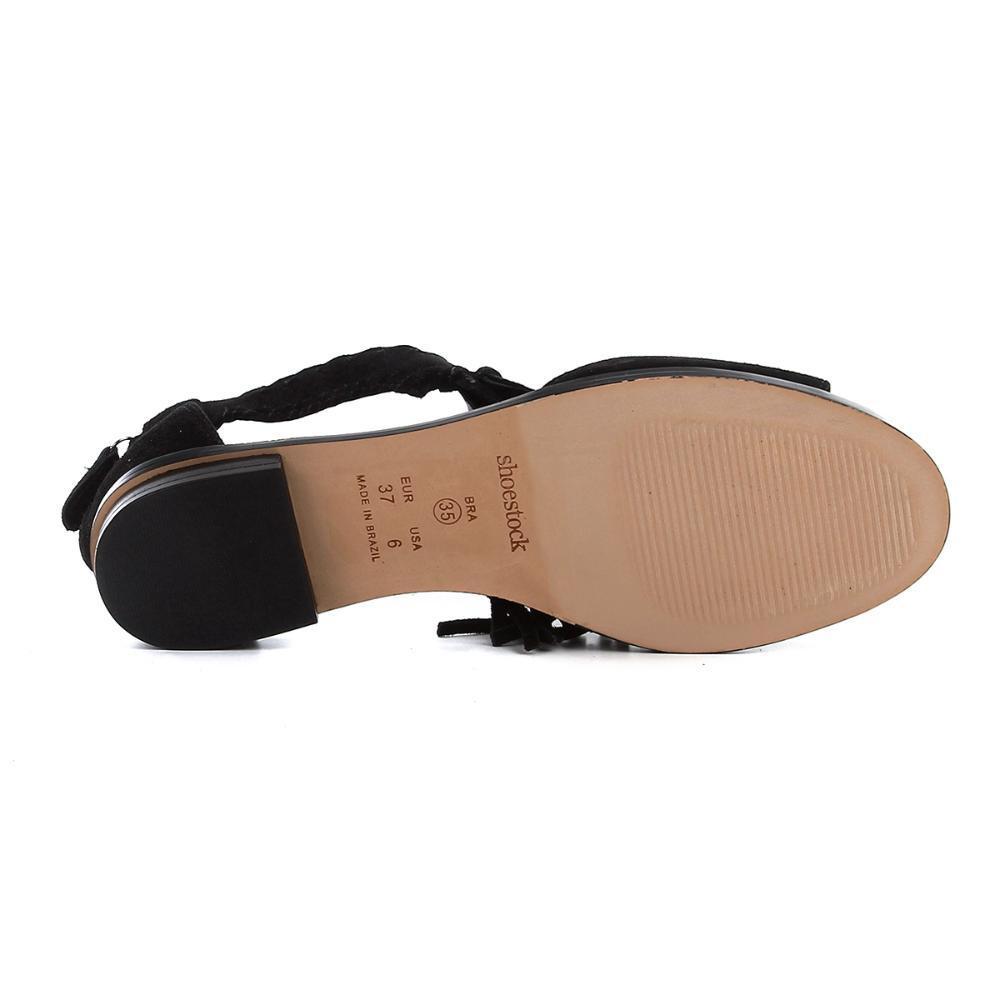 c6218b5666 Rasteira Couro Shoestock Franjas R$ 229,90 à vista. Adicionar à sacola