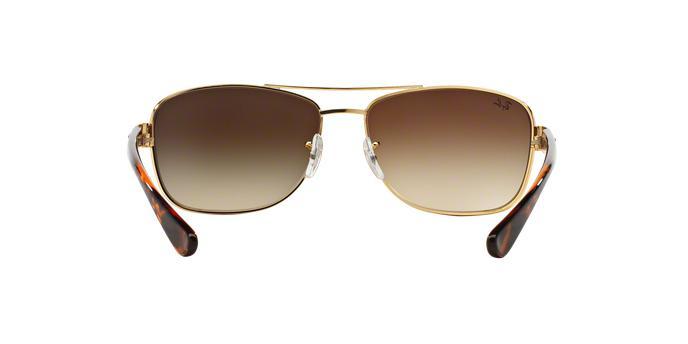 28fe2090de625 Ray-Ban RB3518L 001 13 Ouro Lente Marrom Degradê Tam 63 - Óculos de ...