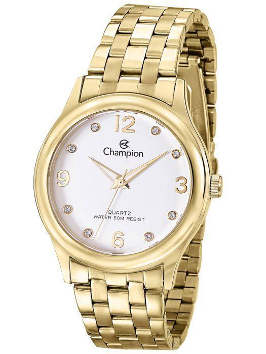 ad365551e65 Relógio Champion Feminino Dourado Strass CN28991H - Relógio Feminino ...
