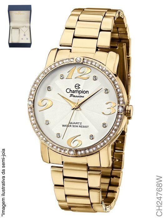 da6adfbdb9f relógio champion feminino fashion dourado CH24768W - Relógio ...