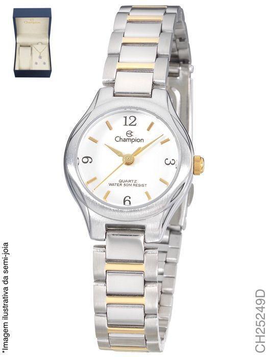 b1071f3c165 Relogio Champion Feminino Prata e dourado CH25249D - Relógio ...