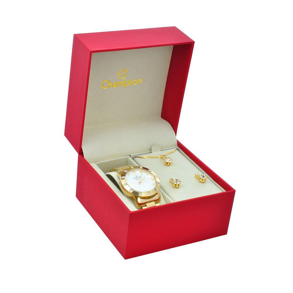 f36753fd7be Relógio de Pulso Champion Feminino Kit com Brinco e Corrente CN27312W -  Dourado - Champion watch R  204