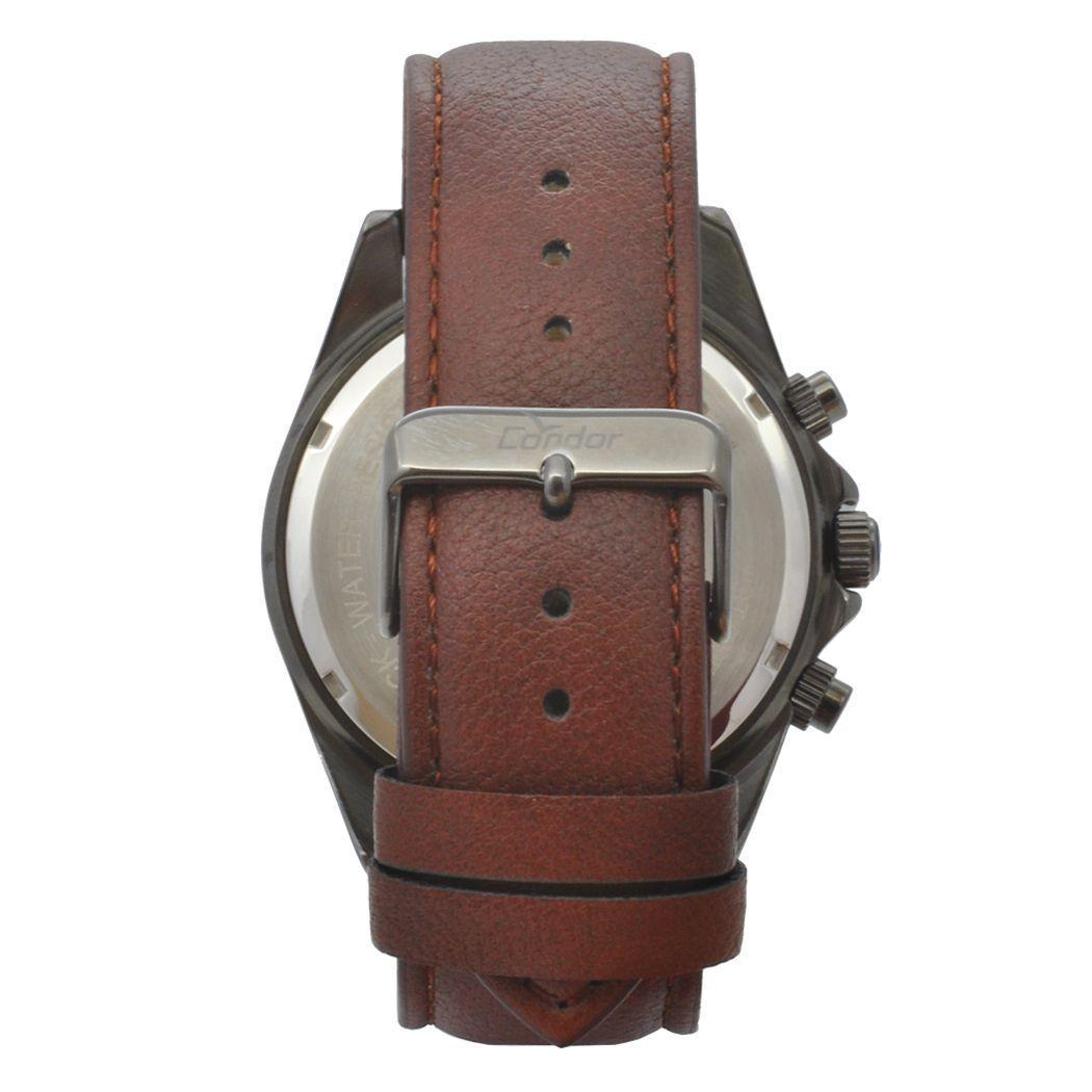 d8d6c9cb36c Relógio de Pulso Condor Masculino com Pulseira de Couro COVD33AS 2P -  Grafite e Marrom R  362