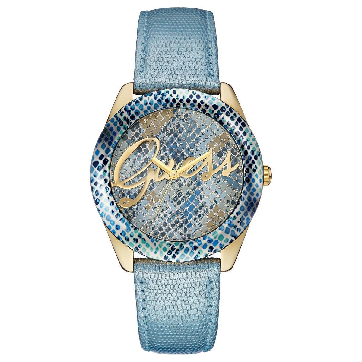 69c5a49d20f Relógio de Pulso Guess Coleção Jeans Feminino 92536LPGTDC3 - Azul e Dourado  R  480