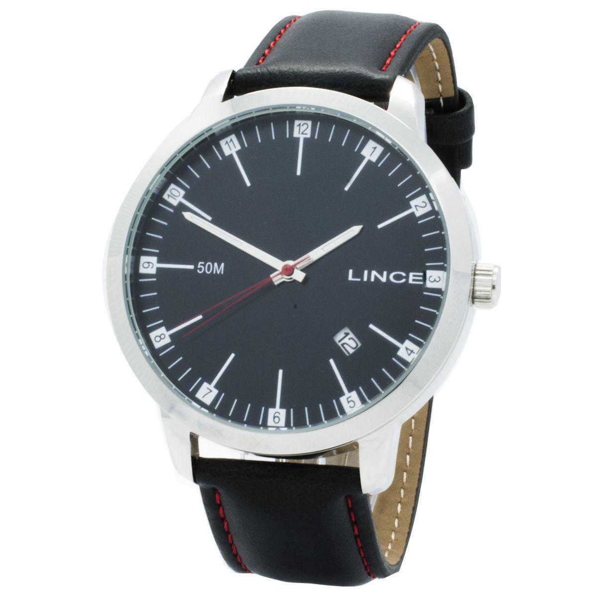 2158f2cf38e Relógio de Pulso Lince Masculino com Pulseira de Couro MRC4349S P2PV -  Prata e Preto