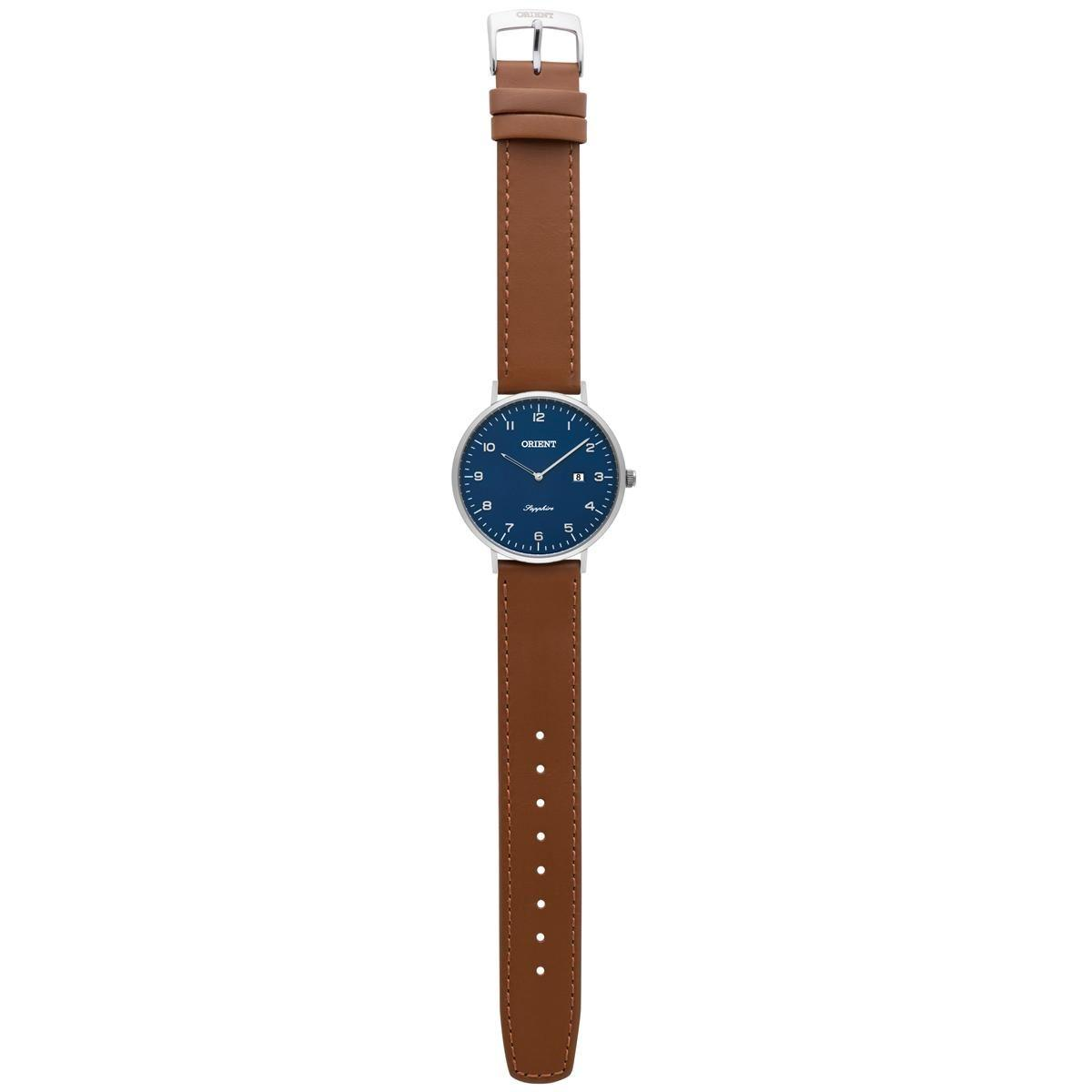 6df21491a66 Relógio de Pulso Orient Slim Masculino com Pulseira de Couro MBSCS008 D2MX  - Prata e Marrom Produto não disponível