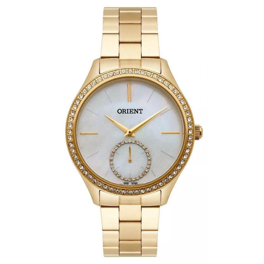 07a9953508a Relógio Feminino Dourado Orient Pedras Swarovski Madrepérola Produto não  disponível