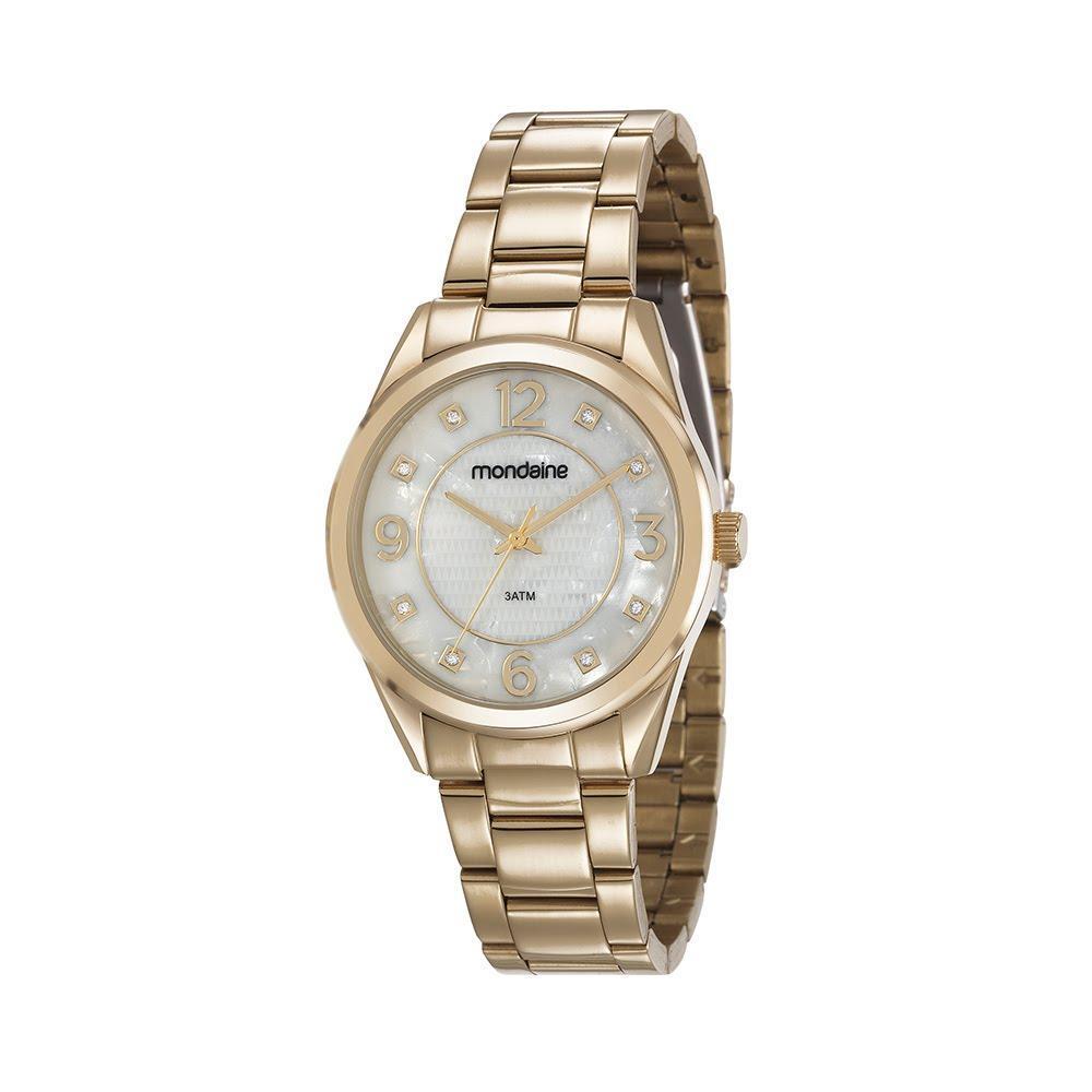 92ff5de5416 Relógio Feminino Dourado Visor Madrepérola Pedras 83385LPMVDE1 - Mondaine  R  207