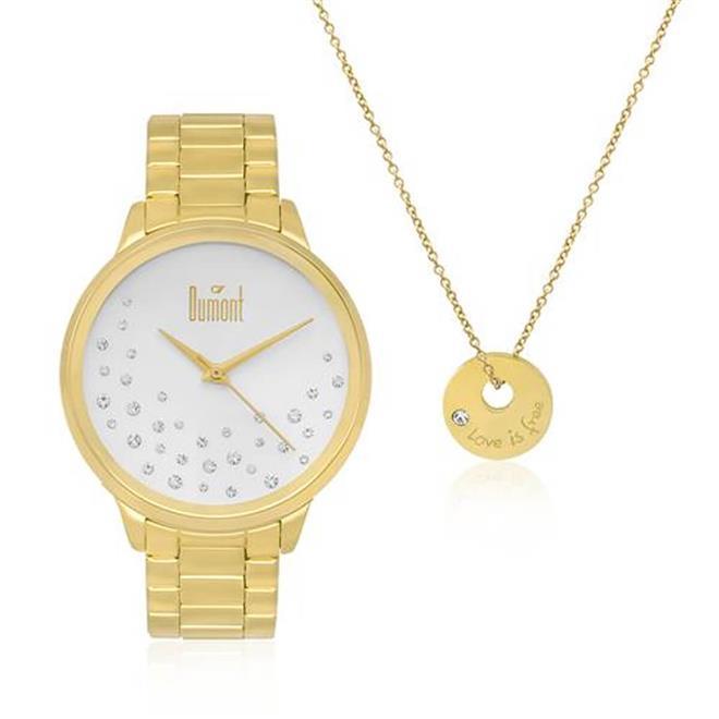 02131f5d4cf Relógio Feminino Dumont Analógico DU2036LSQ K4K Dourado - Relógio ...