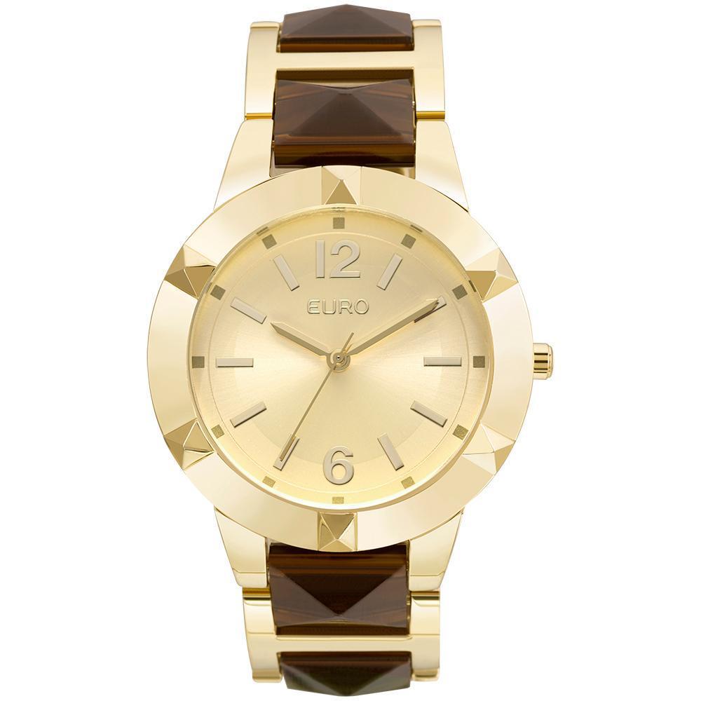 f611de0f4a8 Relógio Feminino Euro EU2035YLZ 4D 41mm Pulseira Aço Bicolor Dourado Marrom  Produto não disponível