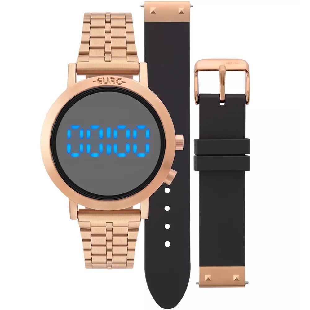 ffbd76a2db5 Relógio feminino euro rose troca pulseira silicone preto eubj3407ac t4f  Produto não disponível