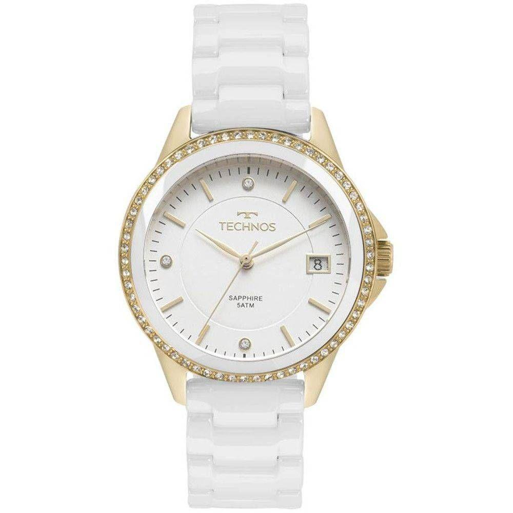 46a9e018f3a Relógio Feminino Technos Elegance 2315KZS 4B - Dourado Branco Produto não  disponível