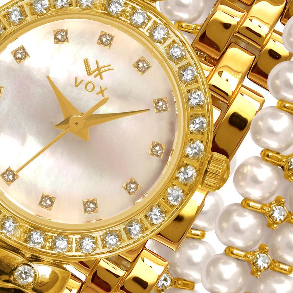 778021e8031 Relogio Feminino Vox Analogico Folheado Charlotte Caixa Metal Dourada  Pulseira em Perolas e Zirconias R  365