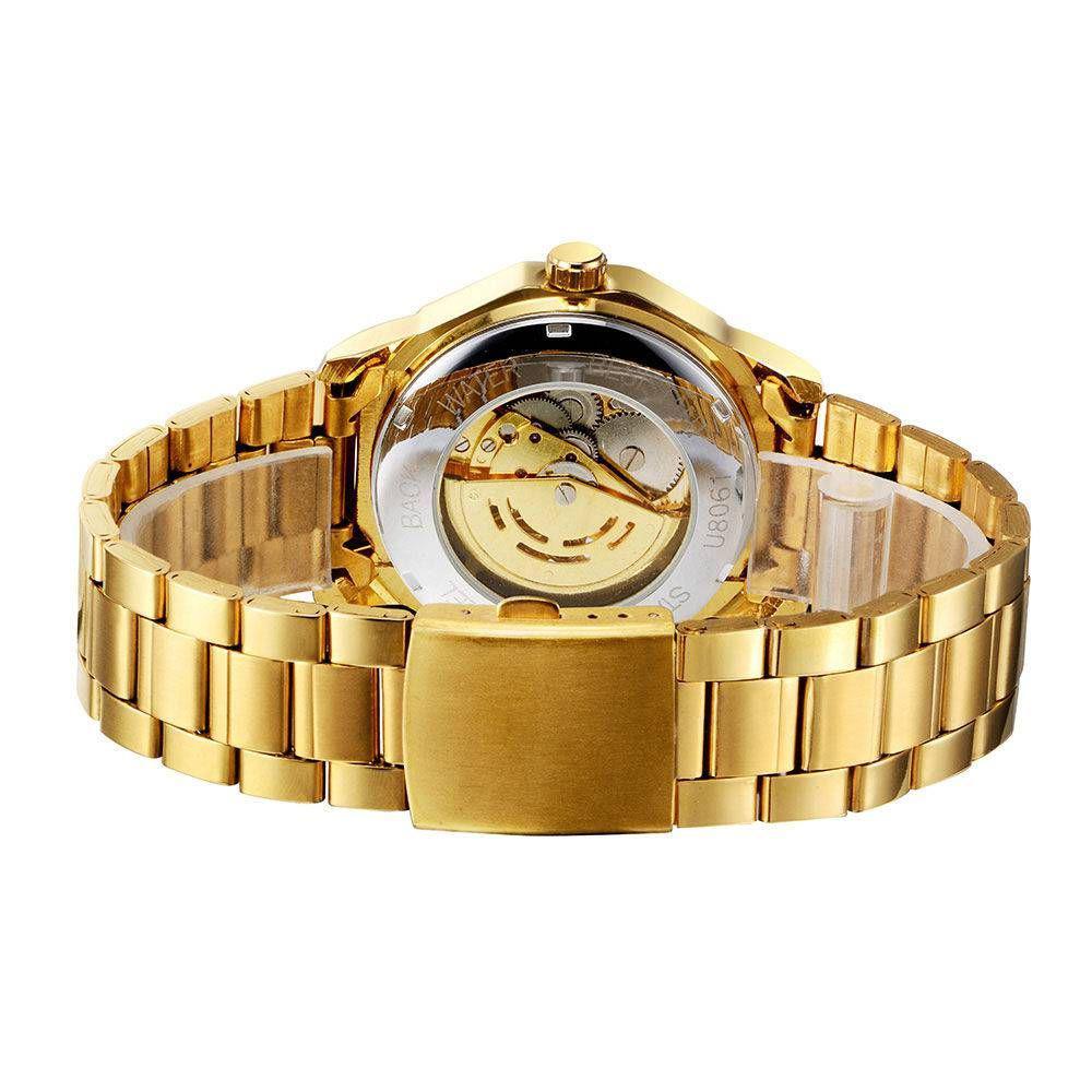 48bb6f477c7 Relógio Masculino Analógico Winner Dourado Esqueleto Cromado R  189