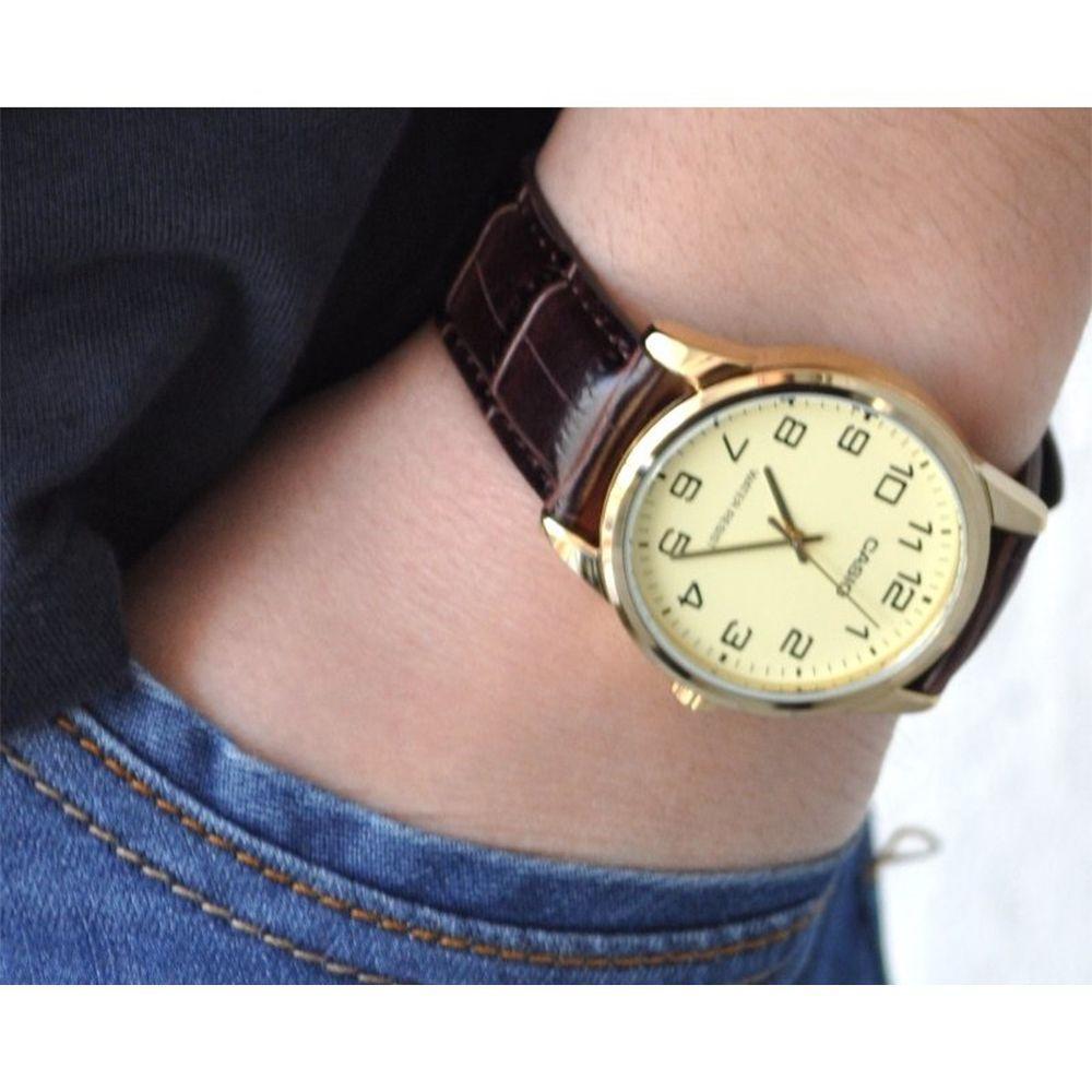 0e0666c72a6 Relogio Masculino Casio Collection Mtp-v001gl-9budf - Marrom dourado  Produto não disponível
