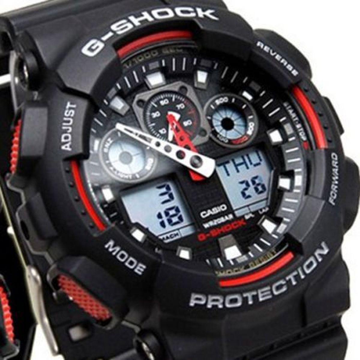 118d8456f3b Relogio Masculino Casio G-shock Anadigi Ga-100-1a4dr - Preto vermelho  Produto não disponível