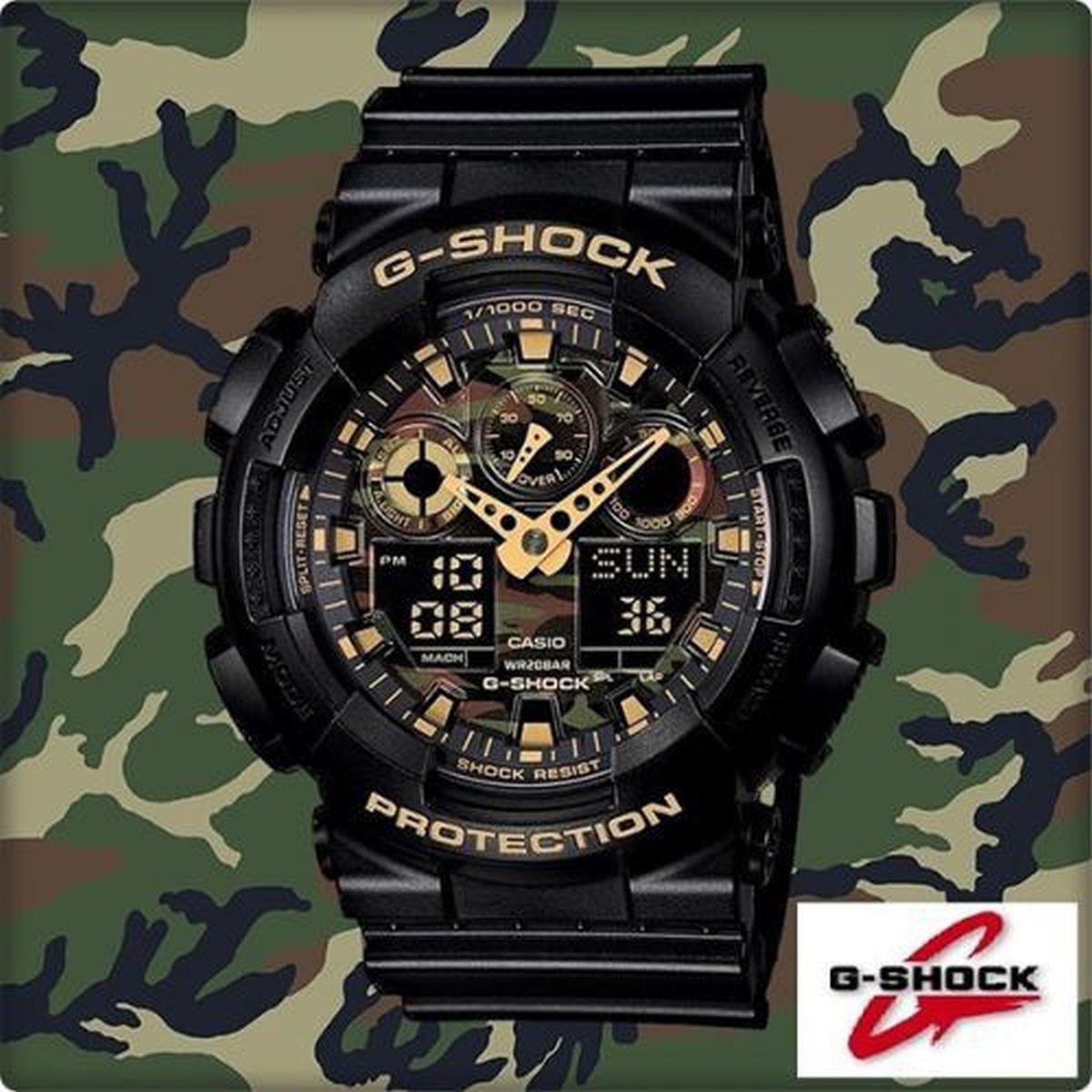 77a305f08f8 Relogio Masculino Casio G-shock Anadigi Ga-100cf-1a9dr - Preto camuflado  Produto não disponível