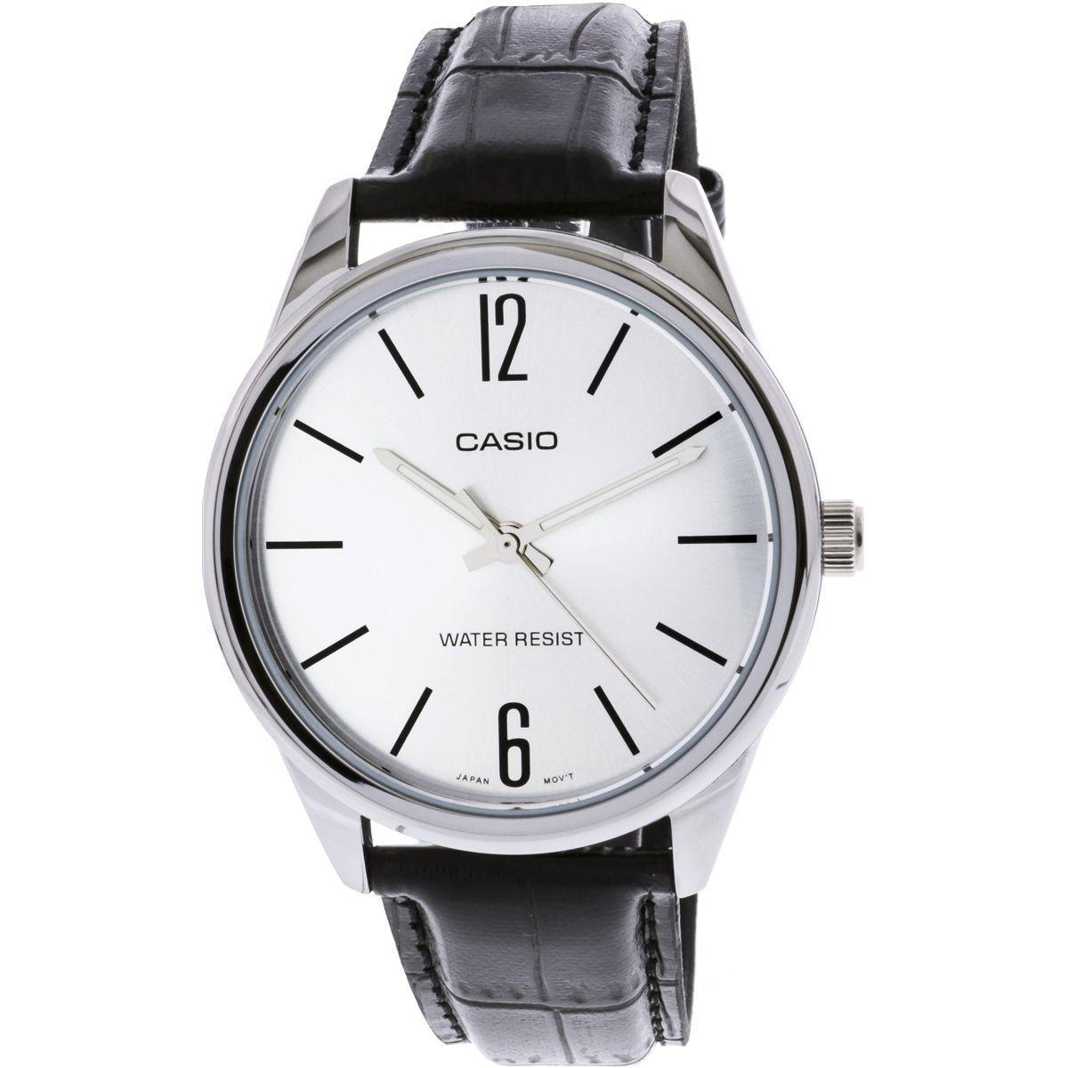 a3f2333cac1 Relógio Masculino Casio Mtp-v005l 7bu - Prata Couro Preto - Relógio ...