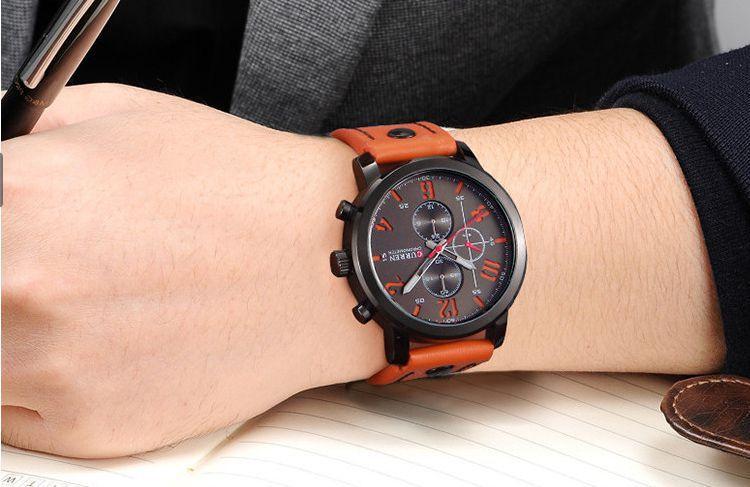 345190cddde Relógio Masculino Curren Pulseira De Couro Esportivo Militar R  117