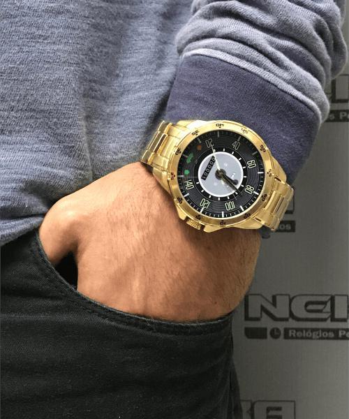 adb2377ef58 Relógio Masculino Dourado Painel Velocímetro Fusca 140km 5776 - Neka  relógios R  169