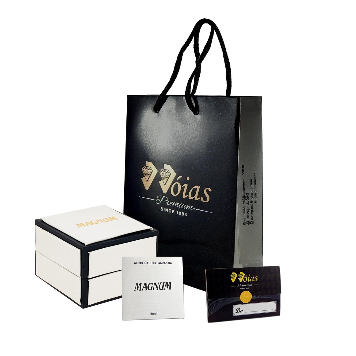 43609f2dd7 Relogio masculino magnum kit com pulseira couro marrom ma30801c R  815