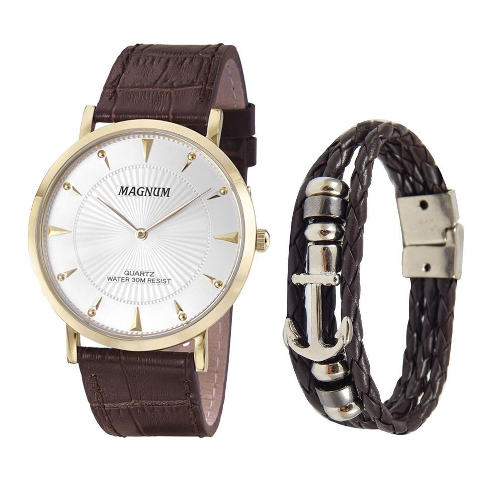 61df64a01aa Relogio masculino magnum marrom kit com pulseira de couro ma21900d R   405