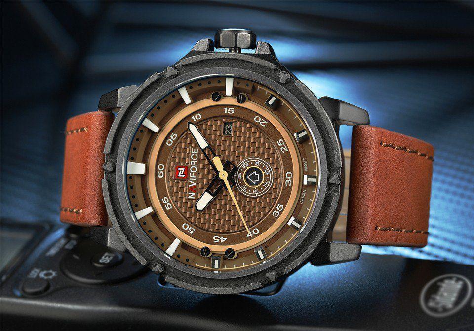 e1e314b872c Relógio Masculino Naviforce Esportivo Militar Pulseira Couro R  149