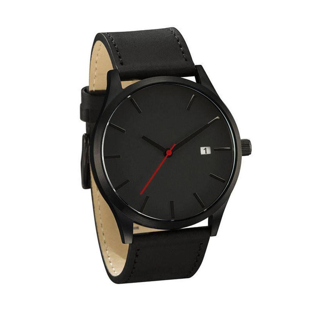 6ed6814b270 Relógio Masculino Pulso Quartzo Esportivo Couro Preto - Outras marcas R  78