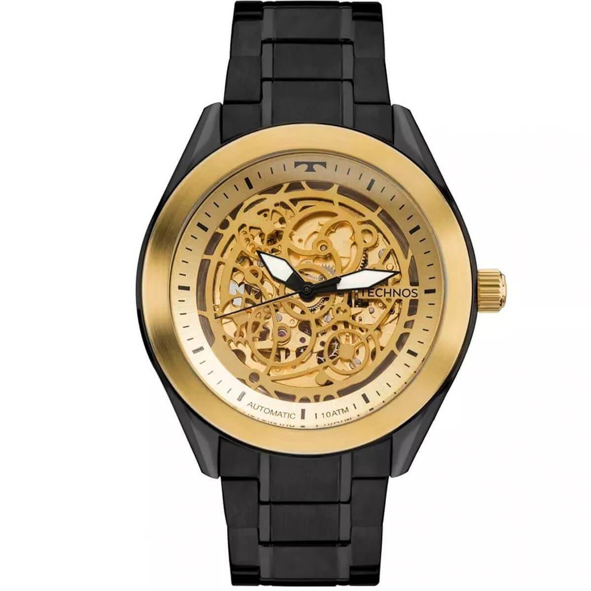 45dba3241abbd Relógio Masculino Technos Esqueleto Black Automático 8N24AI 4X Aço Negro R   588