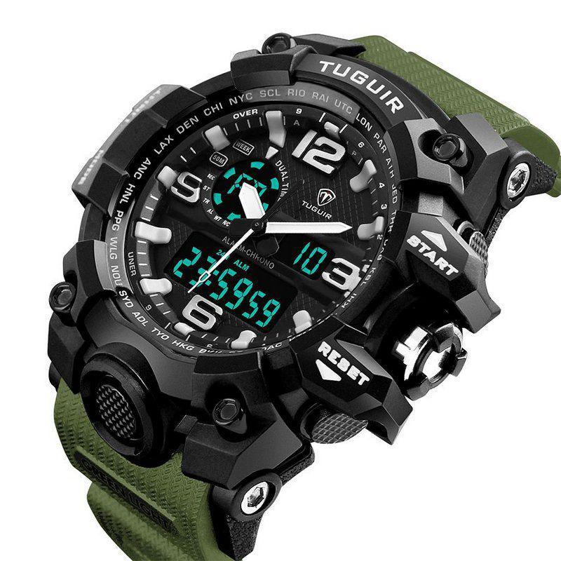 9c2aff4f95f Adicionar à sacola  Relógio Masculino Tuguir Anadigi TG1155 Preto e Verde R  102