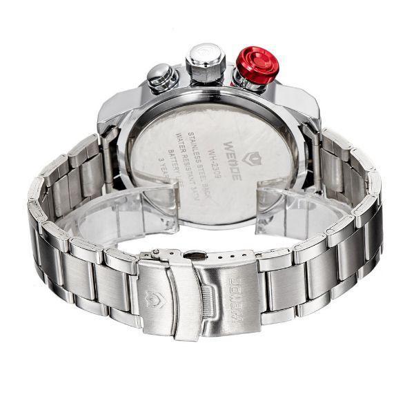 bd8afaee469 Relógio Masculino Weide AnaDigi Casual WH-2309 Prata e Vermelho R  157
