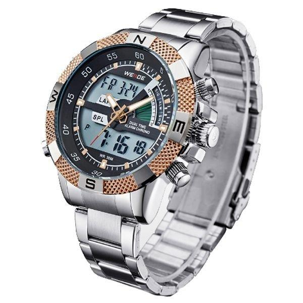 66160f2ab5a Relógio Masculino Weide Anadigi WH-1104 Dourado - Relógio Masculino ...