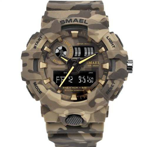 7602aac9ee3 ... Relógio Militar Esportivo Digital Shock Camuflado Smael 8001. 1  2
